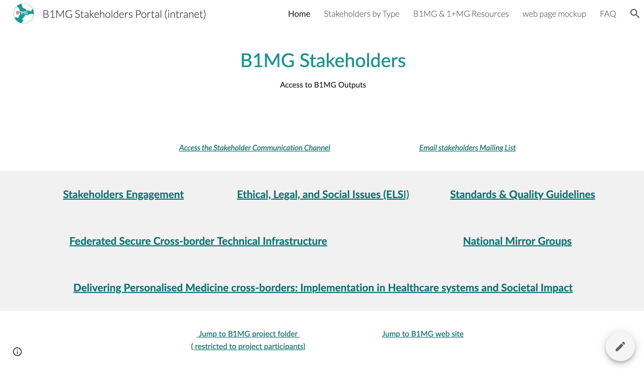 A screenshot of the stakeholder portal